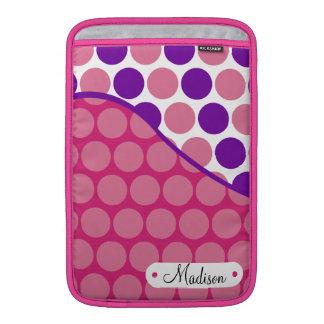 Lunares púrpuras rosados conocidos de encargo fundas MacBook