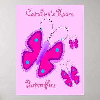 Lunares púrpuras rosados femeninos de las póster