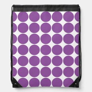 Lunares púrpuras y blancos de color violeta oscuro mochila