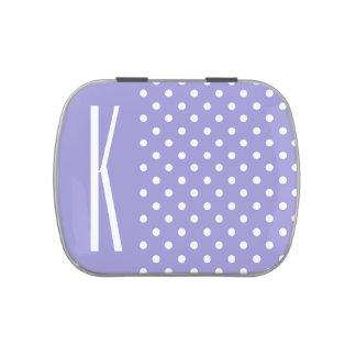 Lunares púrpuras y blancos de la lavanda latas de dulces