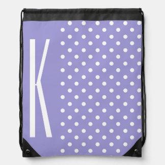 Lunares púrpuras y blancos de la lavanda mochila
