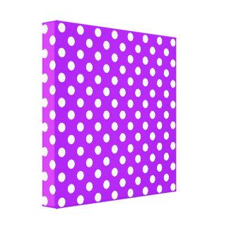 Lunares púrpuras y blancos impresiones en lona estiradas