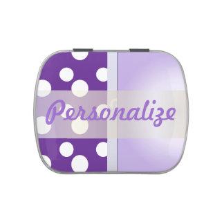 Lunares púrpuras y blancos latas de caramelos