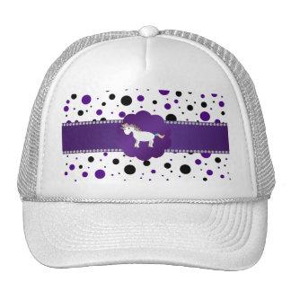 Lunares púrpuras y negros del unicornio gorra