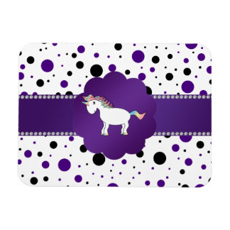 Lunares púrpuras y negros del unicornio imán foto rectangular