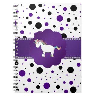 Lunares púrpuras y negros del unicornio libros de apuntes con espiral