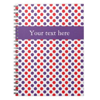 Lunares púrpuras y rojos libros de apuntes