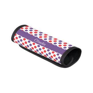 Lunares púrpuras y rojos personalizados funda para asa de maleta