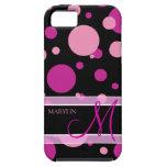 Lunares púrpuras y rosados elegantes con el monogr iPhone 5 Case-Mate protectores