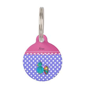 Lunares purpúreos claros personalizados del pavo placas de mascota