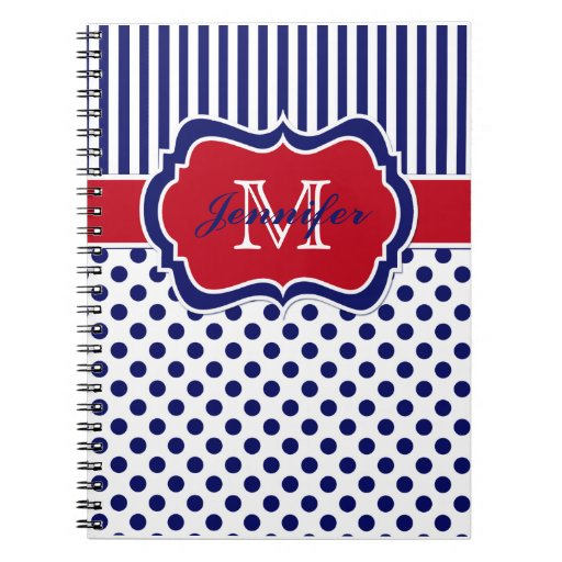 Lunares rayados azules blancos rojos personalizado note book