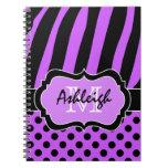 Lunares rayados blancos negros púrpuras personaliz libros de apuntes con espiral