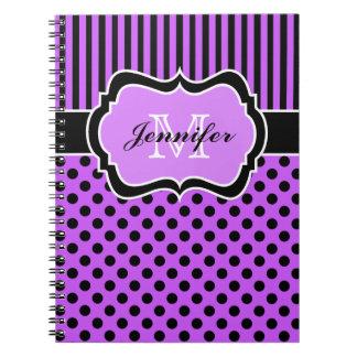 Lunares rayados blancos negros púrpuras personaliz libreta espiral