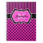Lunares rayados blancos negros rosados personaliza cuaderno