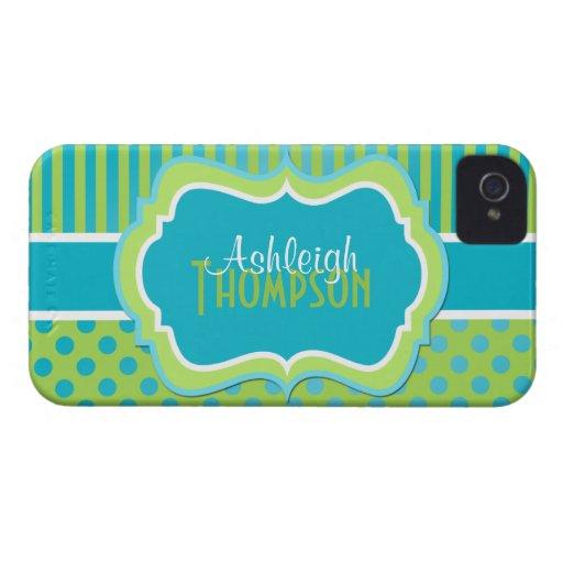 Lunares rayados personalizados de la turquesa y de Case-Mate iPhone 4 funda