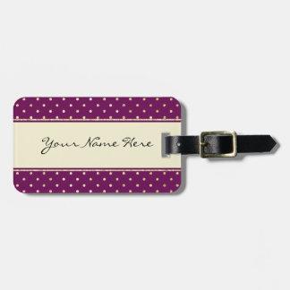 Lunares relucientes hermosos del oro en púrpura etiquetas de equipaje