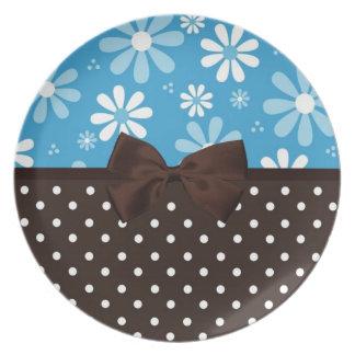 Lunares retros azules de Brown de las margaritas Platos De Comidas