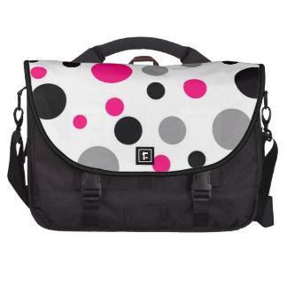 Lunares retros en negro rosado y gris bolsas para portátil