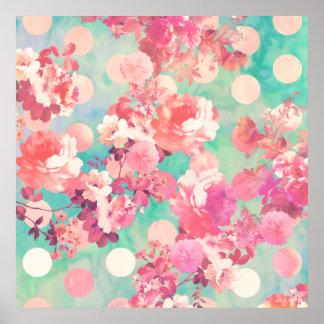 Lunares retros rosados románticos del trullo del e póster