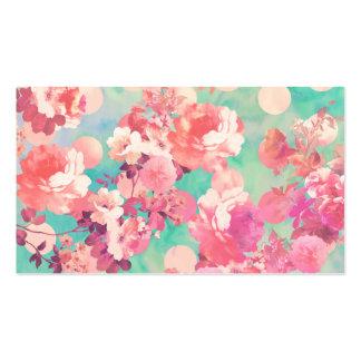 Lunares retros rosados románticos del trullo del e tarjetas personales