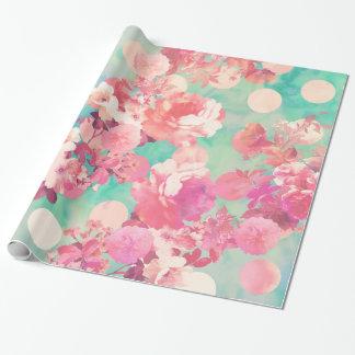 Lunares retros rosados románticos del trullo del papel de regalo