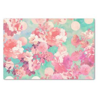 Lunares retros rosados románticos del trullo del papel de seda pequeño