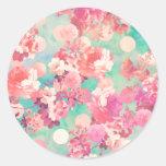 Lunares retros rosados románticos del trullo del etiquetas redondas