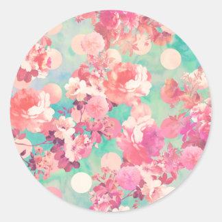 Lunares retros rosados románticos del trullo del pegatina redonda