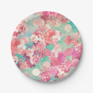 Lunares retros rosados románticos del trullo del platos de papel