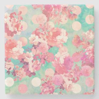 Lunares retros rosados románticos del trullo del posavasos de piedra