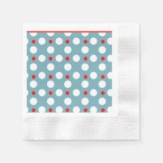 Lunares rojo, azul y blanco servilleta desechable