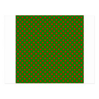 Lunares - rojo en verde postal