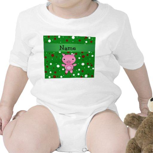 Lunares rojos blancos personalizados del verde con trajes de bebé