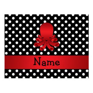Lunares rojos conocidos personalizados del negro d tarjetas postales