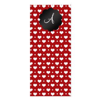 Lunares rojos de los corazones del monograma lona personalizada