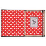 Lunares rojos de neón de los corazones del monogra iPad cobertura