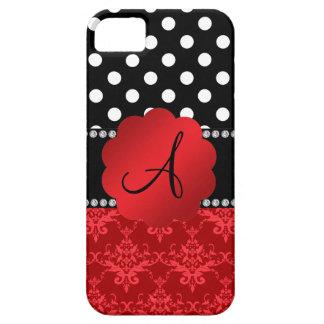 Lunares rojos del blanco del damasco del monograma iPhone 5 Case-Mate cobertura