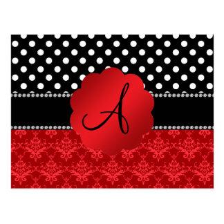 Lunares rojos del blanco del damasco del monograma tarjetas postales