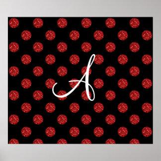 Lunares rojos del brillo del monograma póster