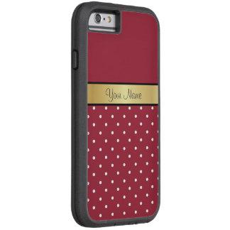 Lunares rojos del monograma del oro y blancos funda de iPhone 6 tough xtreme