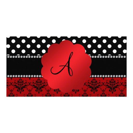 Lunares rojos del negro del damasco del monograma tarjetas fotograficas personalizadas