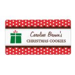 Lunares rojos del regalo de Navidad que conservan  Etiqueta De Envío