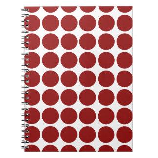 Lunares rojos en blanco libros de apuntes con espiral