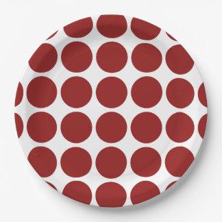 Lunares rojos en blanco plato de papel de 9 pulgadas