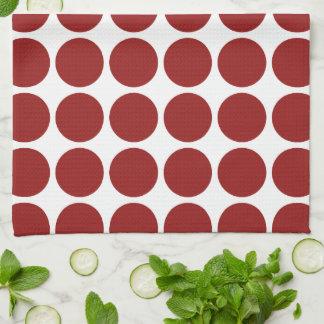 Lunares rojos en blanco toalla de cocina