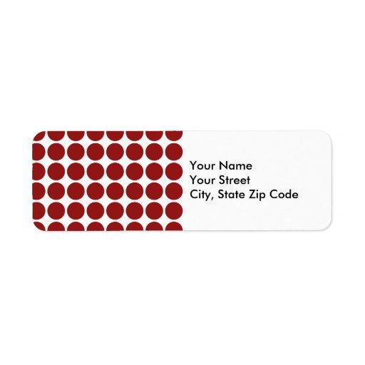 Lunares rojos en la etiqueta blanca del remite etiquetas de remite
