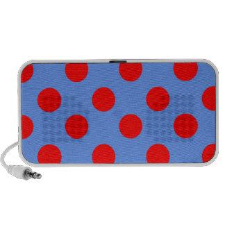 Lunares rojos grandes en azul del Cornflower iPod Altavoces