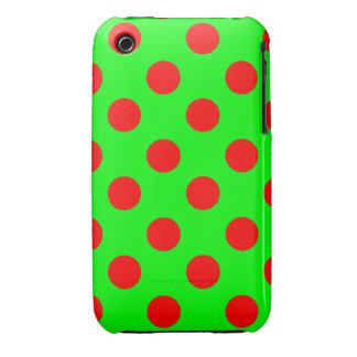 Lunares rojos grandes en el verde de neón iPhone 3 protector