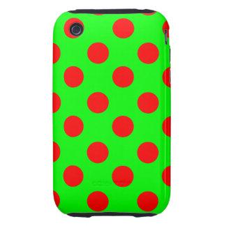 Lunares rojos grandes en el verde de neón tough iPhone 3 fundas