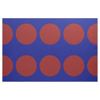 Lunares rojos grandes en tela azul telas